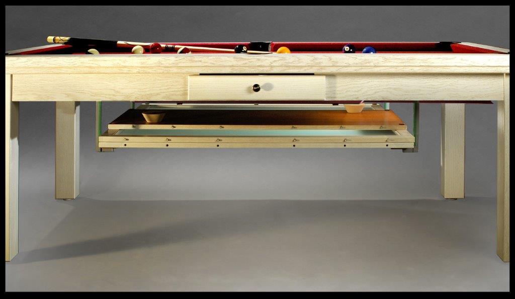 Table billard convertible, et son plateau billard rangé sous la table