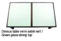 Table billard avec dessus table verre sablé vert