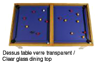 table billard transformable avec dessus table verre transparent